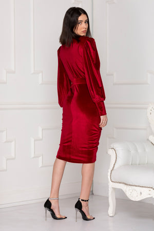 Infinity red velvet dress back side.