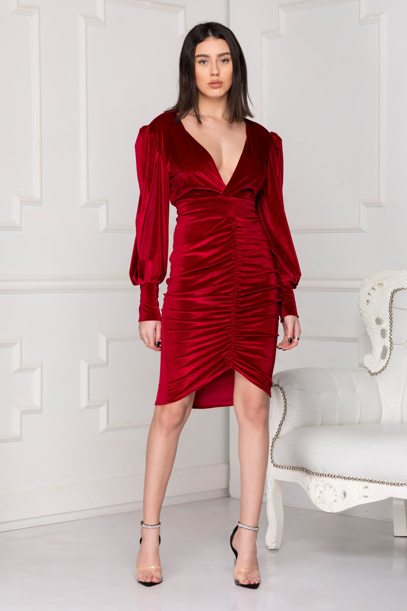 Infinity red velvet dress front side look.
