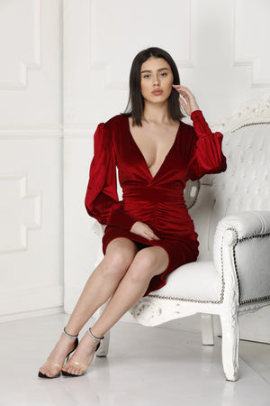 Red velvet dress perfect for dinners.