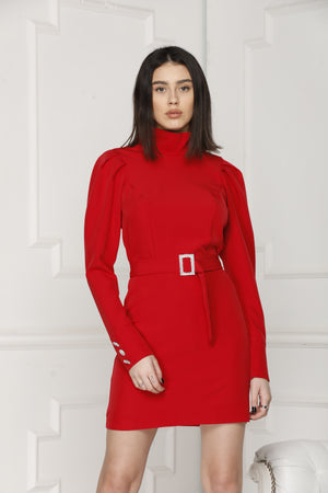 Mini Luxe dress colour red.