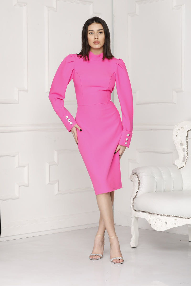 Neon Pink midi luxe dress with long puff sleeves,