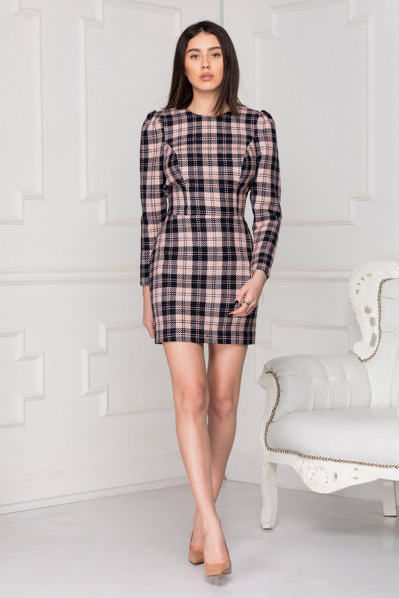 Nude plaid dress front look.