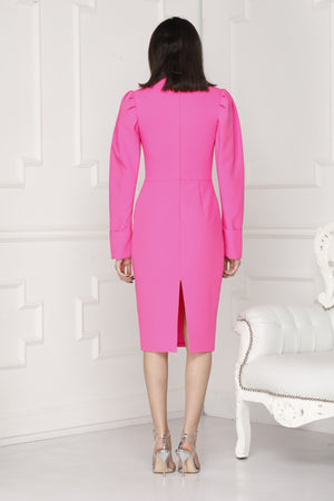 Neon pink midi luxe dress back full details.