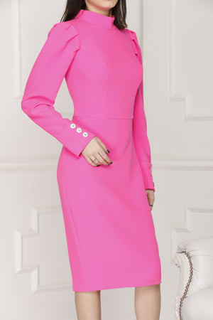 Neon pink midi luxe dress full details.