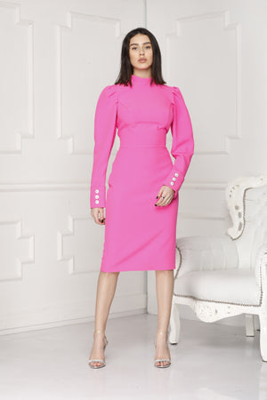 Pink cyclam midi luxe dress full body.