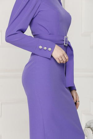 Purple midi luxe dress long sleeves with decorative embellished  buttons.