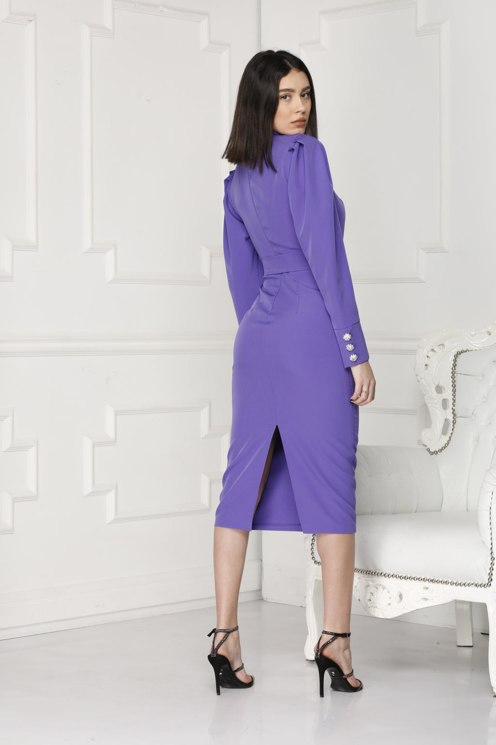 Purple midi luxe dress full back.