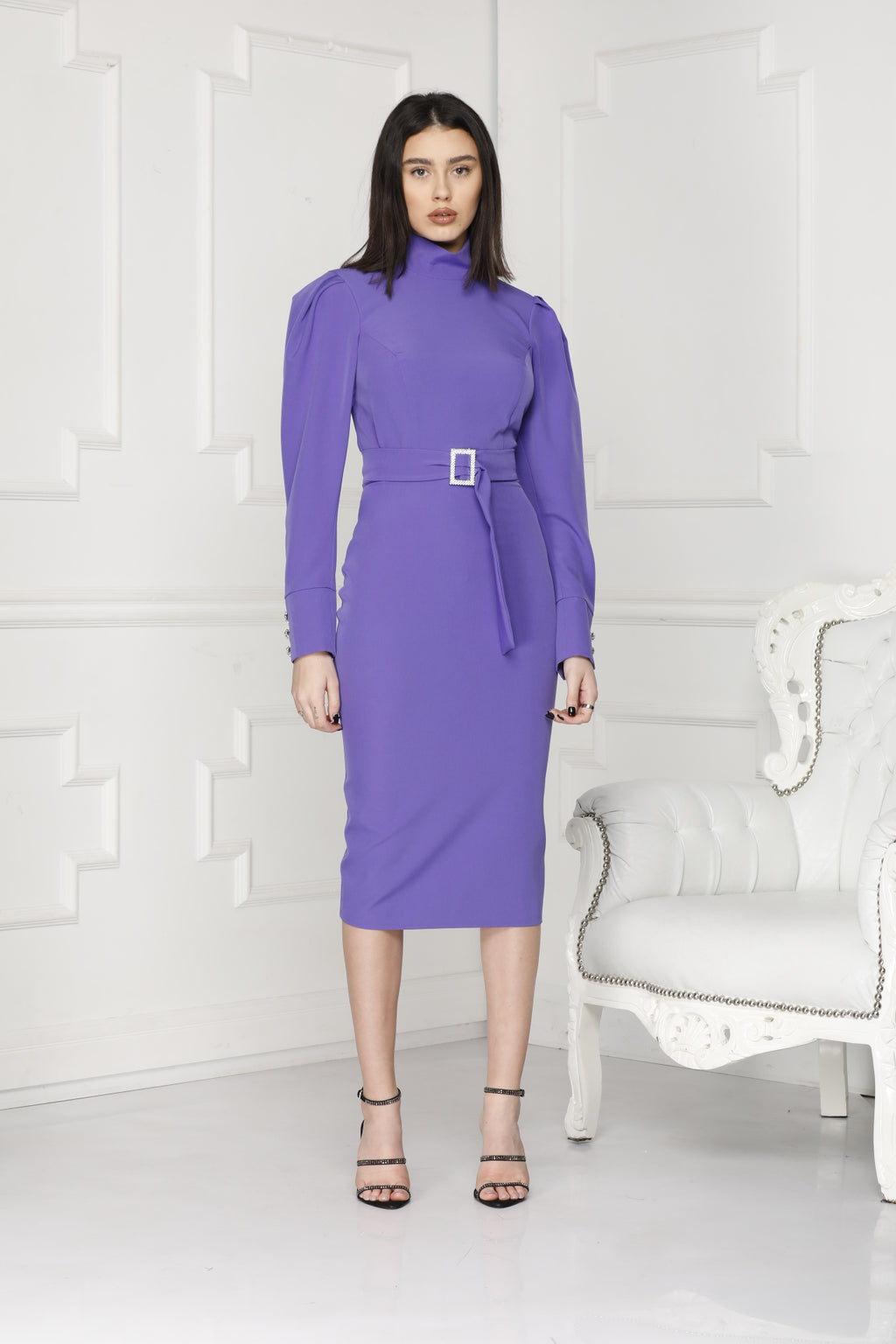 Purple midi luxe dress.