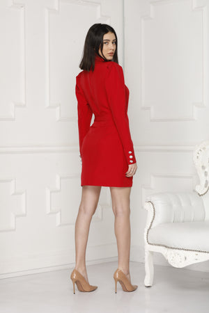 Mini Luxe dress red full back.