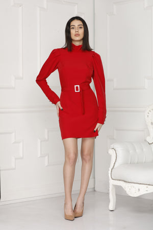 Mini luxe dress red colour full side.