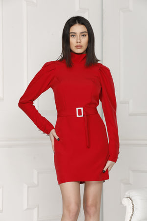 Mini Luxe dress red colour details.