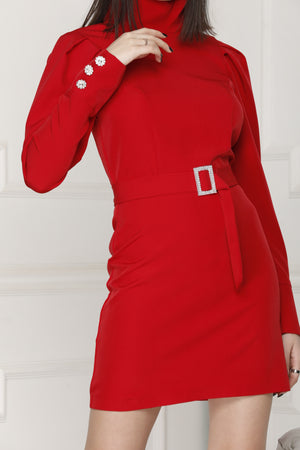 Mini Luxe dress red colour.