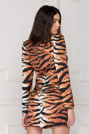 Satin Wild Dress animal print back.
