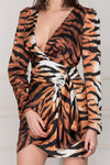 Satin Wild Dress animal print details.