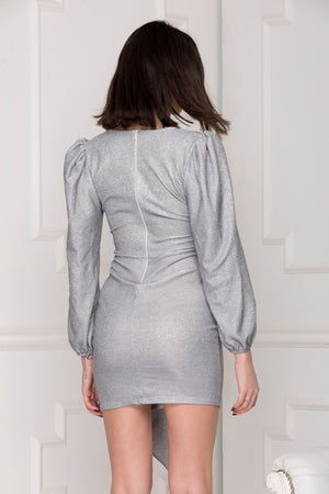 Silver Glitter Luxe Party Dress Back