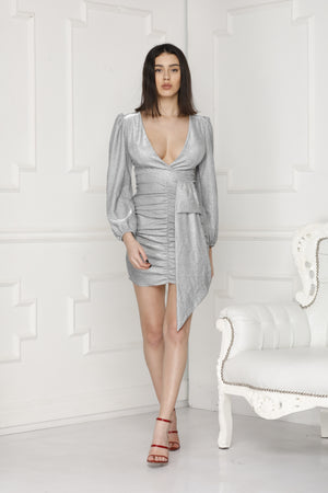 Silver glitter luxe Party Dress full body.