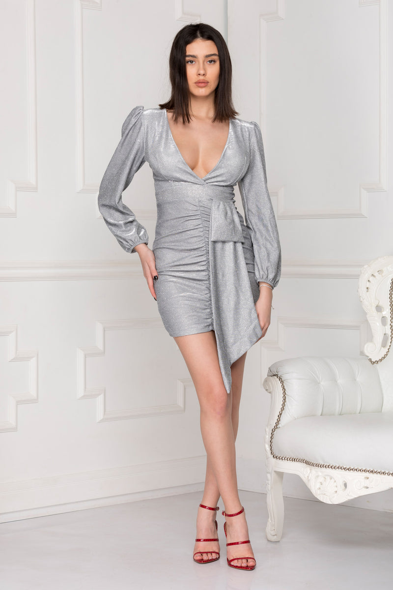 Silver Glitter Party Dress with a fierce finish.