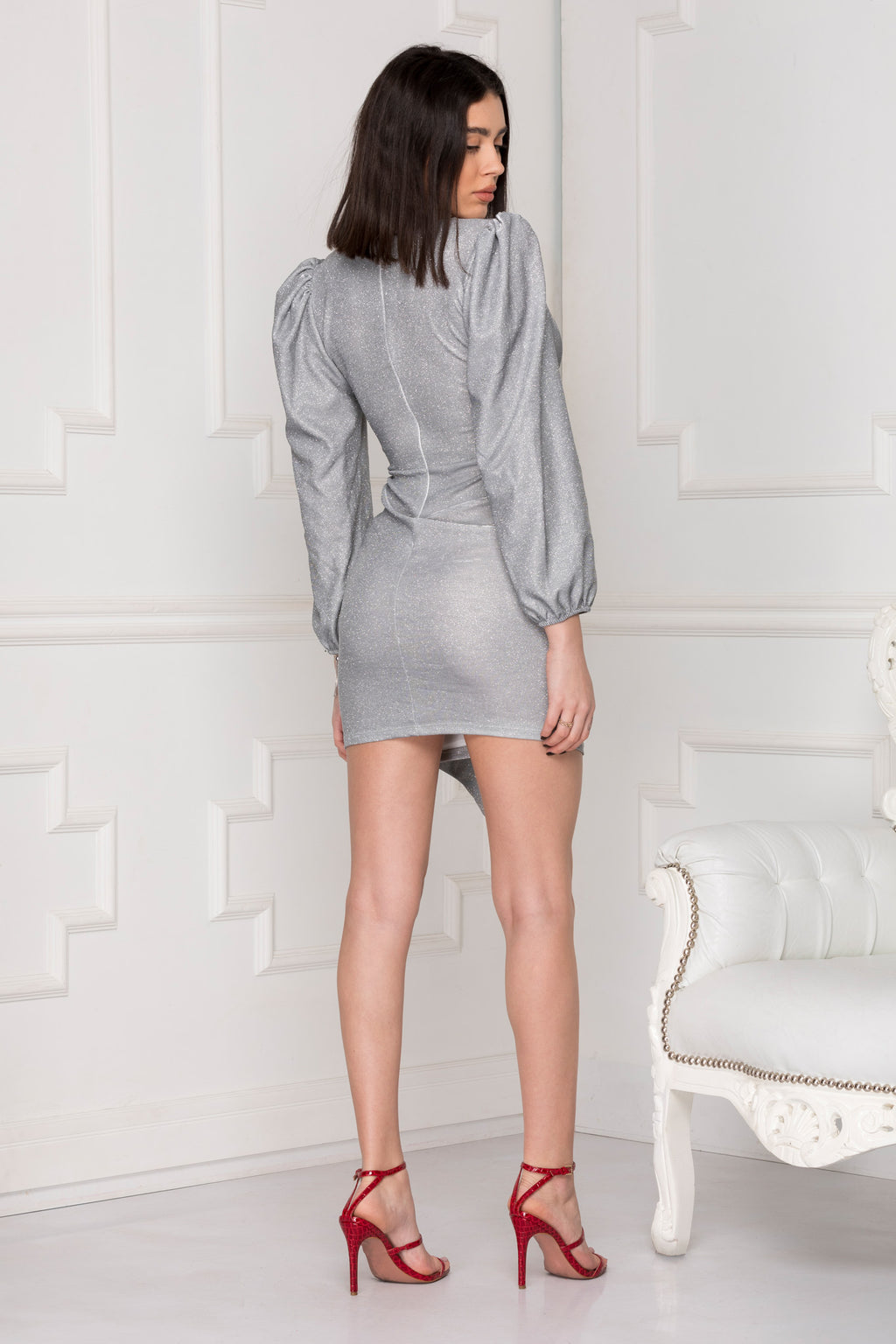 Silver Glitter Luxe Party Dress perfect for last-minute night out.