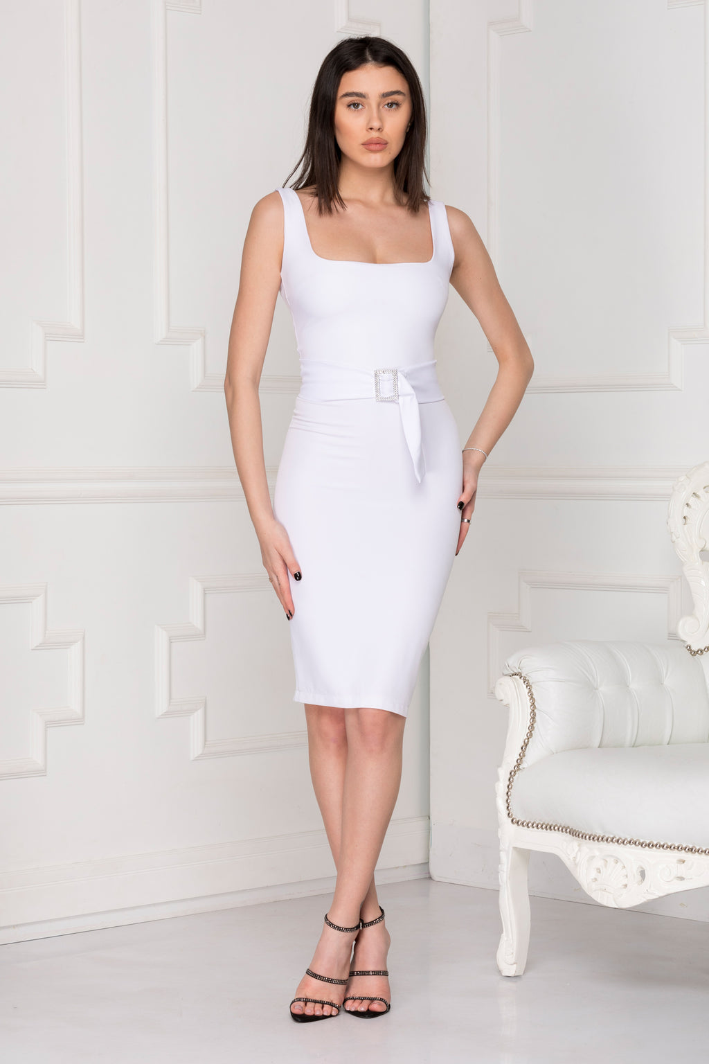 White basic dress full body.