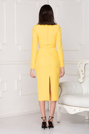 Yellow Spring midi dress back details.