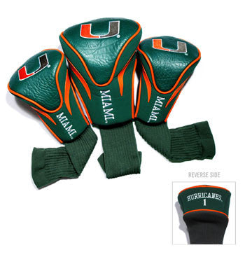 3 Pk Contour Sock Headcovers Miami Hurricanes
