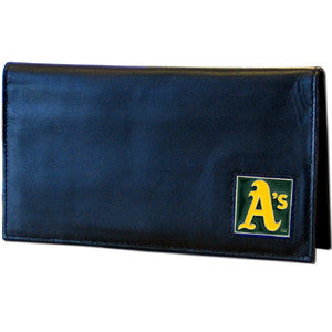 Athletics Leather Checkbook Cover in Tin