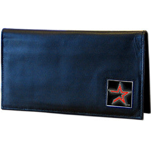 Astros Leather Checkbook Cover in Tin