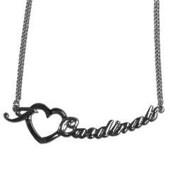 Cardinals Script Heart Necklace