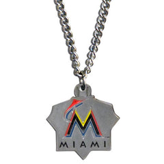 Chain Necklace & MLB Pendant Florida Marlins