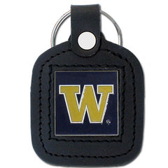 College Leather Key Ring - Washington Huskies