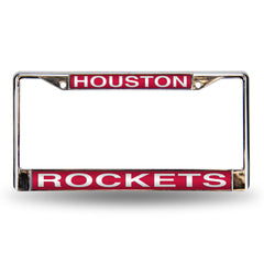 Houston Rockets Laser Cut License Plate Chrome Frame