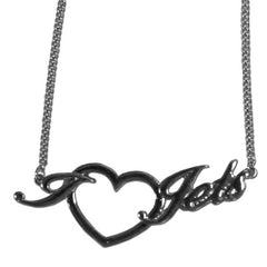 Broncos Script Heart Necklace