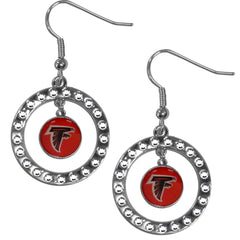 Altanta Falcons Rhinestone Hoop Earrings