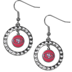49ers Rhinestone Hoop Earrings