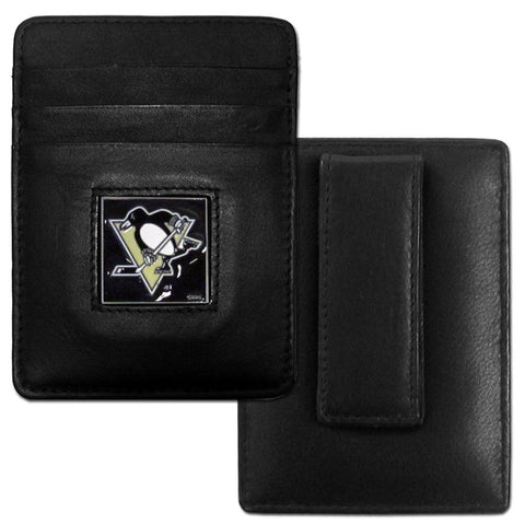 Penguins Leather Money Clip/Cardholder
