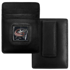 Blue Jackets Leather Money Clip/Cardholder