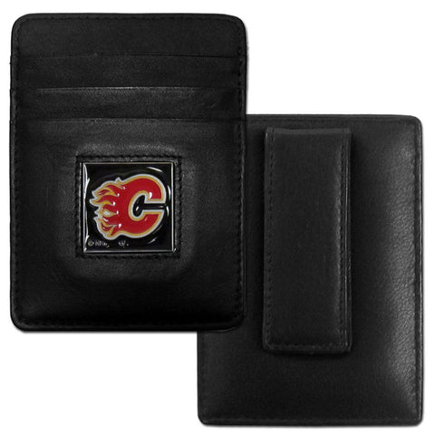 Flames Leather Money Clip/Cardholder