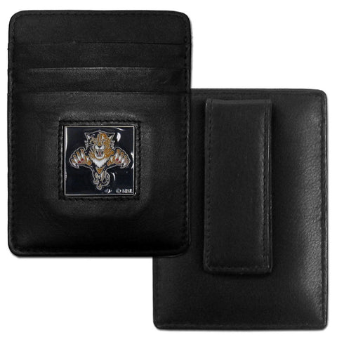 Panthers Leather Money Clip/Cardholder