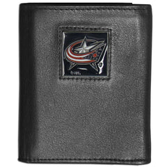 Blue Jackets Leather Tri-fold Wallet