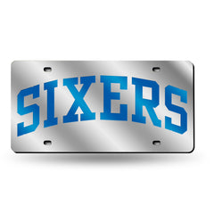 Philadelphia Sixers Laser Cut Auto Tag Silver Style 3