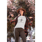 "Load image into Gallery viewer, UPLIFT Women's ""Grow Through Life"" Tri-Blend Graphic Tee - UPLIFT WEAR - White Triblend - Model"