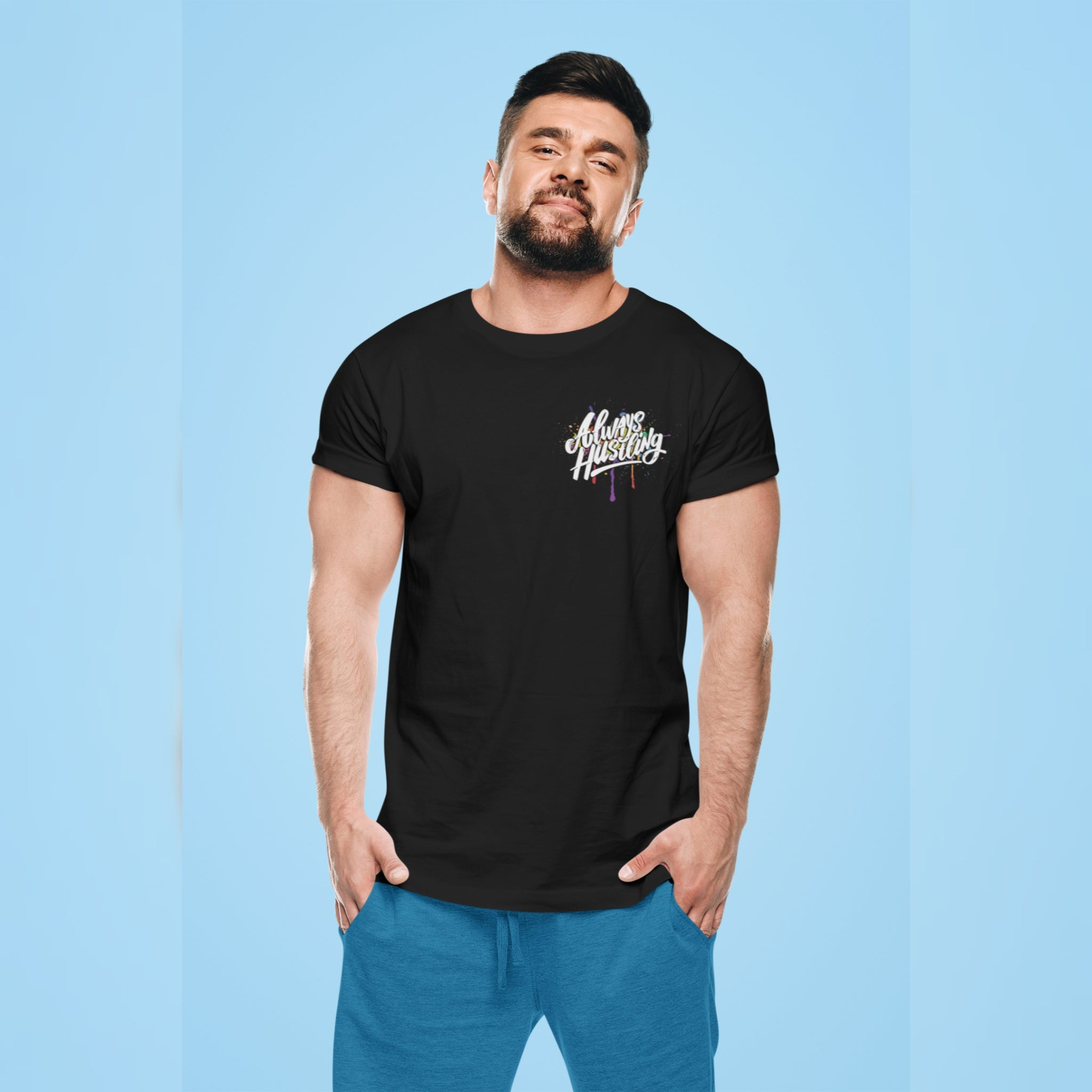 "UPLIFT Men's ""Always Hustling"" Graphic Short Sleeve Tee - UPLIFT Wear - Black Mens"