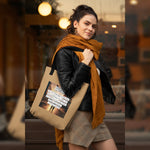 "Load image into Gallery viewer, UPLIFT ""Be Wise"" Instagram Quote Tote Bag - UPLIFT Wear - Brown - Model"