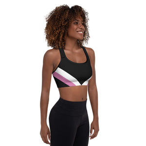 UPLIFT Women's Black Striped Design Sports Bra