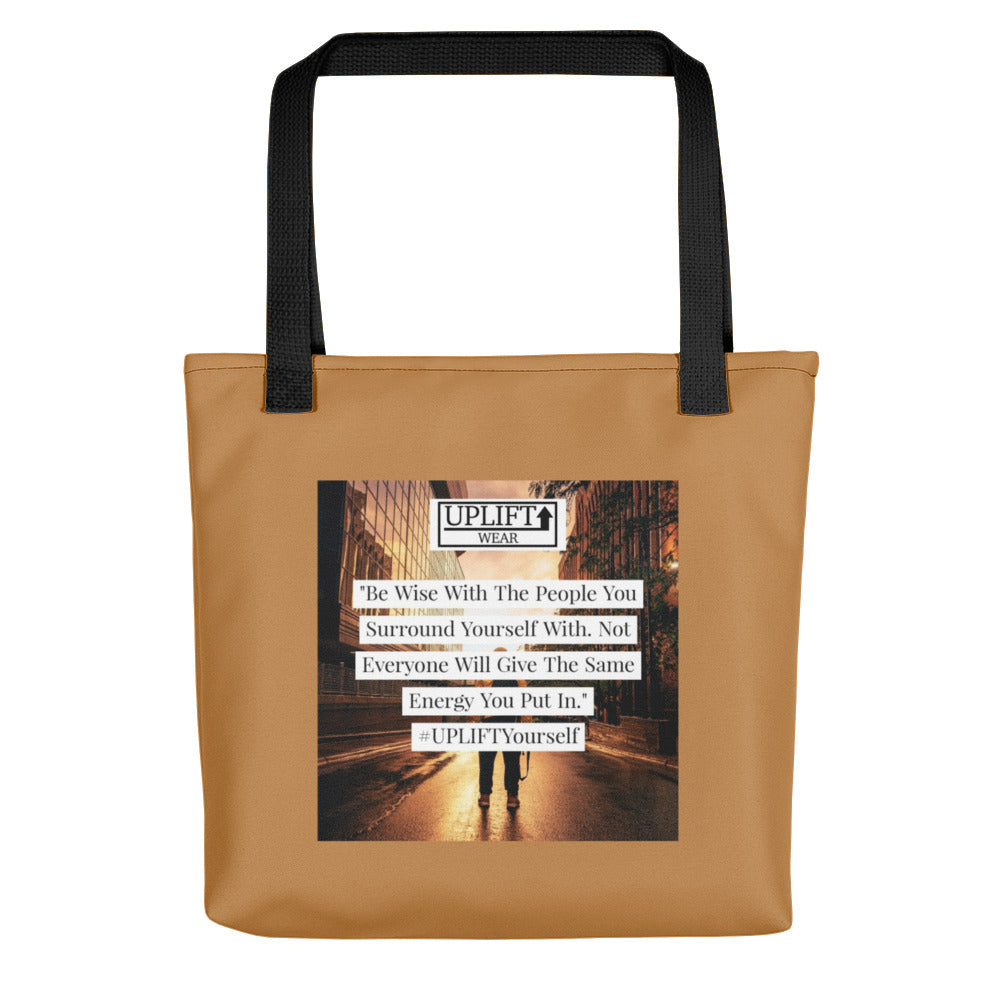 "UPLIFT ""Be Wise"" Instagram Quote Tote Bag - UPLIFT Wear - Brown"