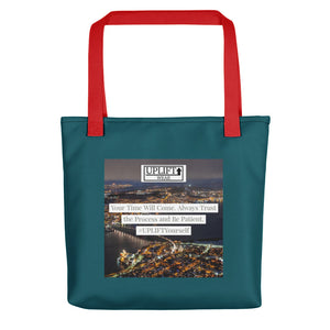 "UPLIFT ""Your Time Will Come"" Instagram Quote Tote Bag - UPLIFT Wear - Teal Red"