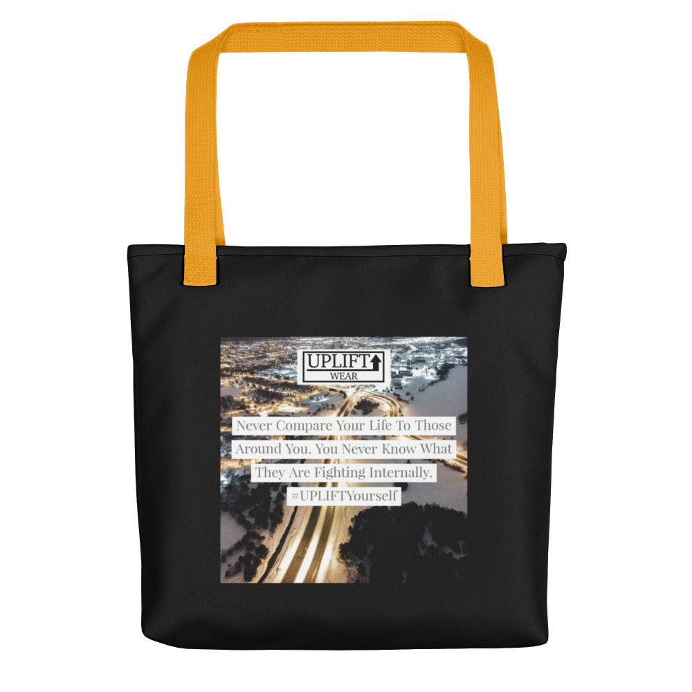 "UPLIFT ""Never Compare"" Instagram Quote Tote Bag - UPLIFT Wear - Black Yellow"