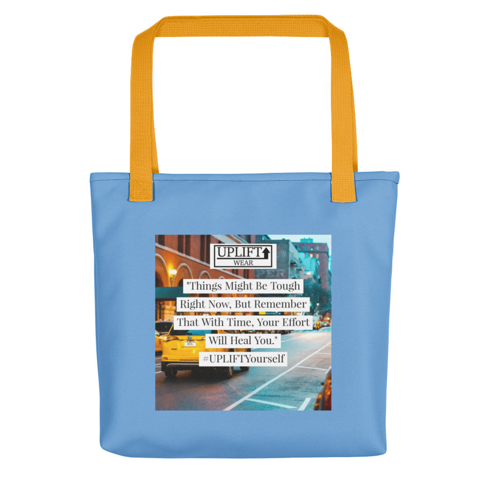 "UPLIFT ""With Time"" Instagram Quote Tote Bag - UPLIFT Wear - Blue Yellow"