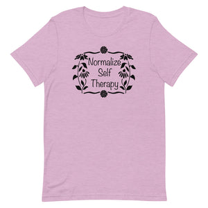 "UPLIFT Women's ""Normalize Self Therapy"" Graphic Tee - Heather Lilac Pink"