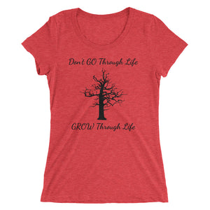 "UPLIFT Women's ""Grow Through Life"" Tri-Blend Graphic Tee - UPLIFT WEAR - Red Triblend"